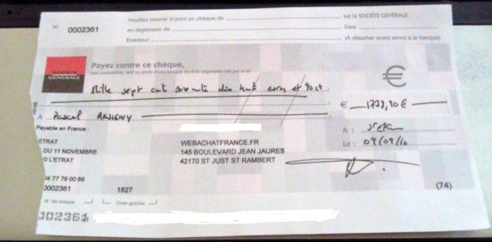 chèque déchiré