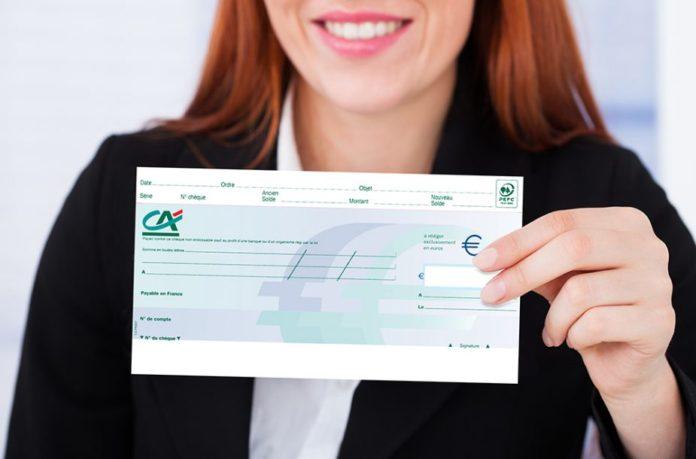Chèque de banque Crédit Agricole